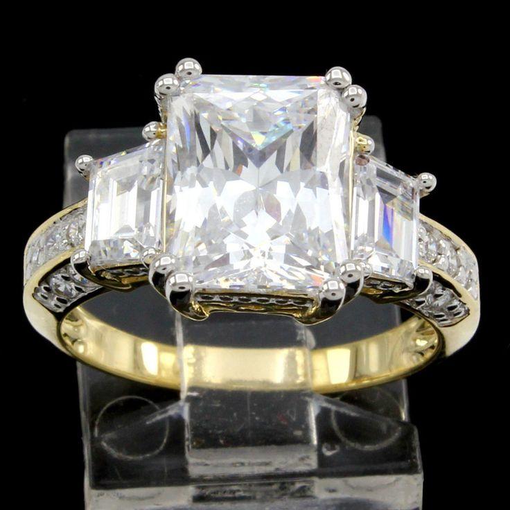 Estate 5.50Ct Emerald Cut VVS1 14K Yellow Gold Solitaire Engagement Ring #PrelovedJewelry #Solitaire #EngagementWeddingAnniversaryPromiseValentine