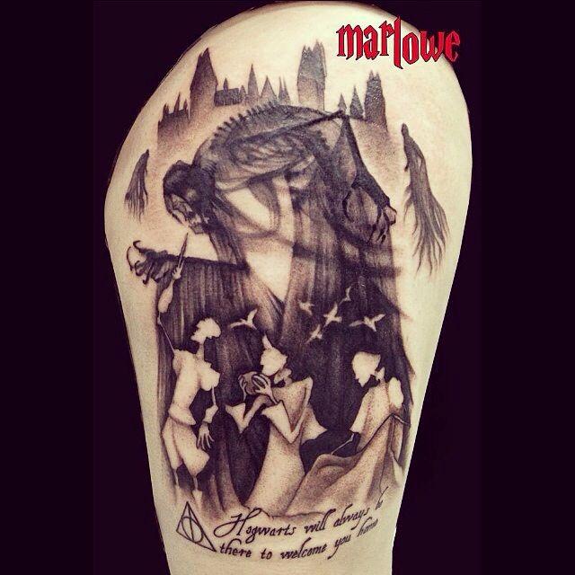 Harry Potter Tätowierung; Heiligtümer des Todes; die drei Brüder; Marlowe Vincent Tattoos; Instagram: jesjesones