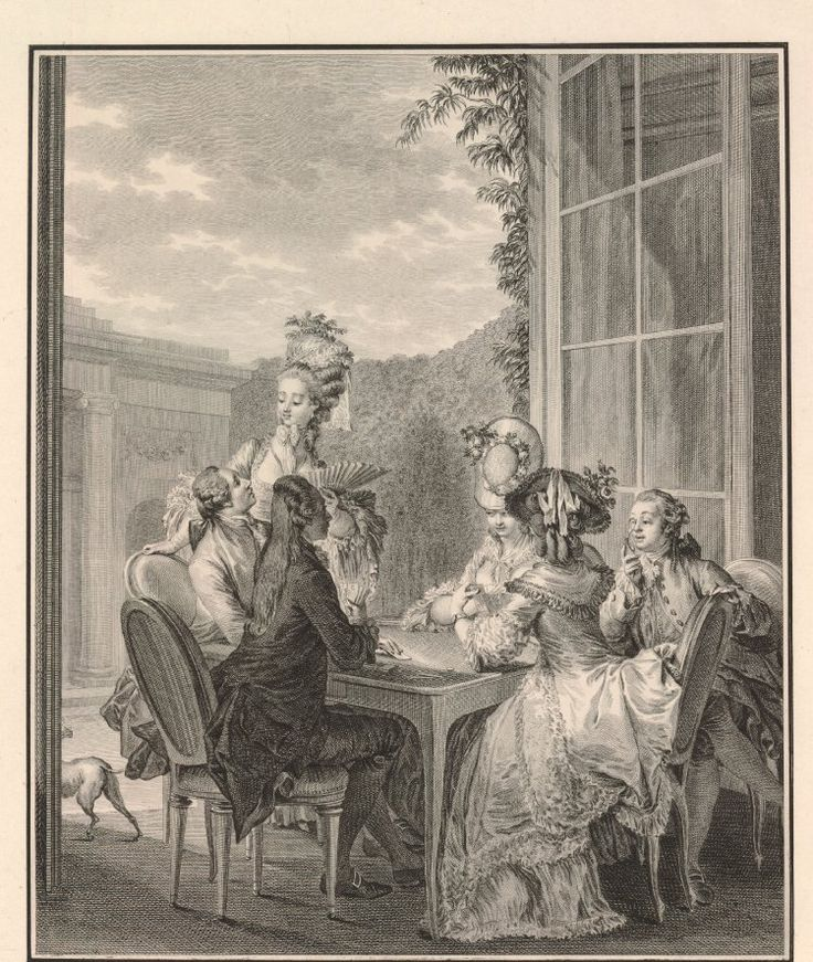 Plate 30: four aristocrats playing whist at a table, with woman with a fan and man sitting on the right watching the game; in the background, a glass door opening onto a yard.  1783 Etching and engraving