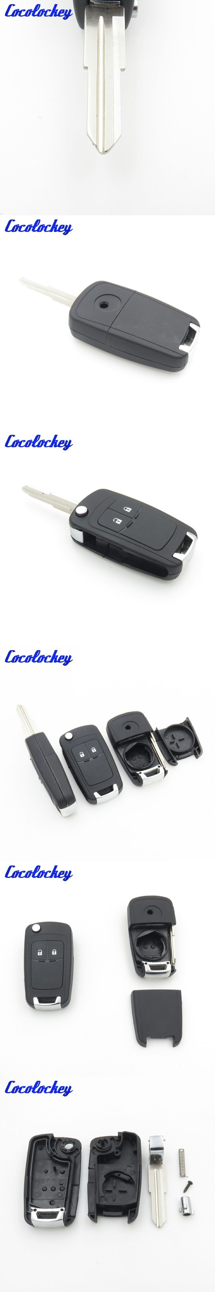 Cocolockey Folding 2Buttons Flip Remote Car Key Shell Fit for CHEVROLET Spark Car Replacement Blank Key Fob 2 Buttons