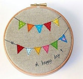 Gorgeous bunting embroidery hoop art!...Hang by the back door to see something cheerful as we leave for our day!
