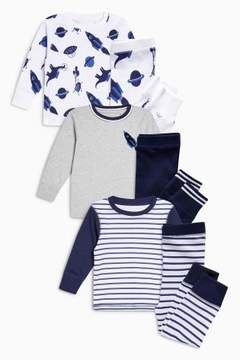be30e516ebf Shop for Next Boys Navy White Dinosaur Rocket Snuggle Fit Pyjamas Three  Pack (9mths-8yrs) at ShopStyle. Now for £22.