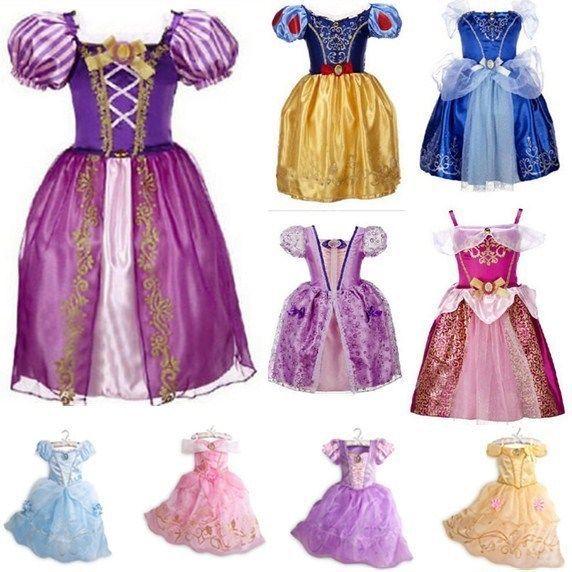 Kid Girls Princess Costume Fairytale Dress Up Rapunzel Cinderella Fancy Dresses#