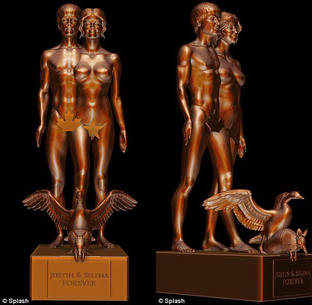 "Justin Bieber and Selena Gomez have been ""Immortalized"" in an androgynous bronze statue by the controversial sculptor Daniel Edwards -"