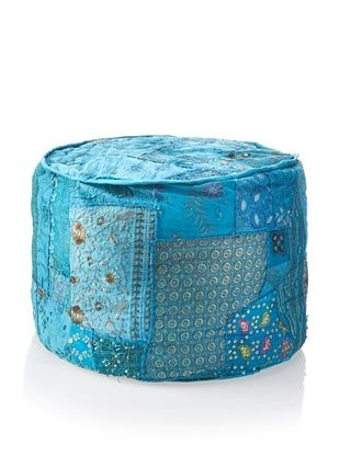 56% OFF Large Round Ottoman, Teal