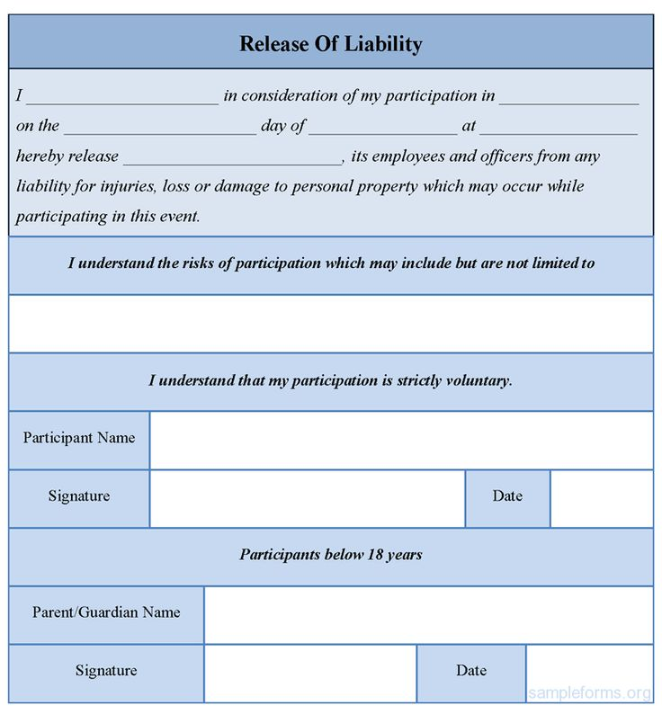 Free Release Of Liability Form Release Of Liability Template