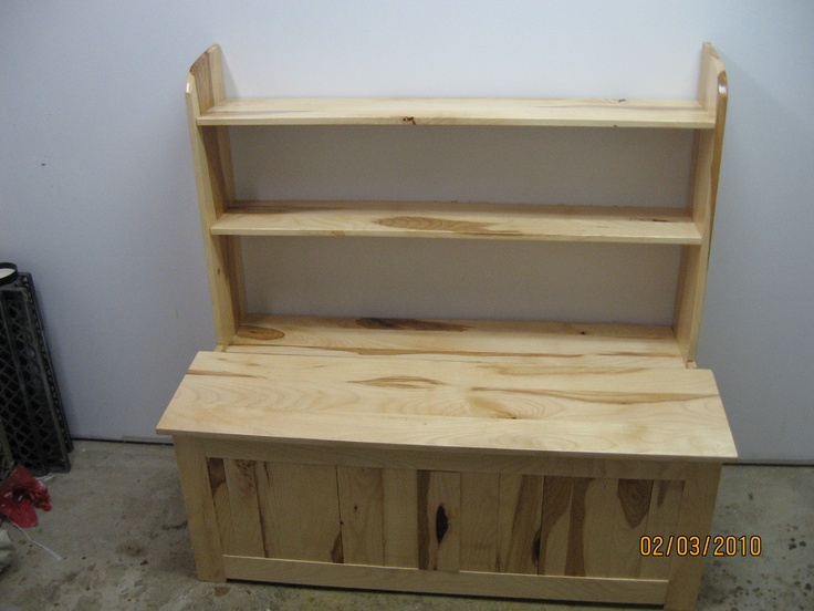 "Hickory toy box with torsion ""no slam hinge"" and book shelf - finished in child save lacquer $375.00"