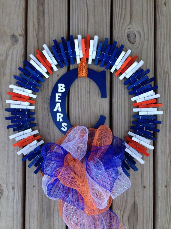 Hey, I found this really awesome Etsy listing at https://www.etsy.com/listing/197597805/chicago-bears-clothespin-wreath