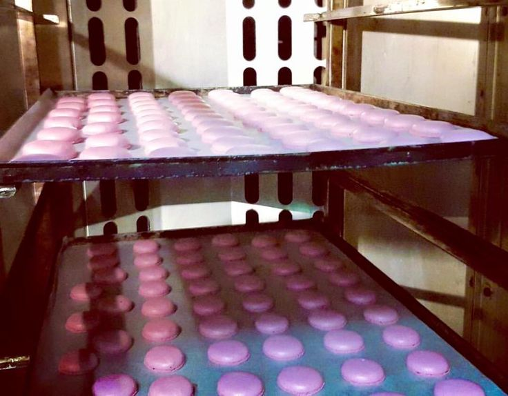 It is a #macaron day today at Lemonis bakery production area. This batch just came out of the oven, more macarons are on the way.