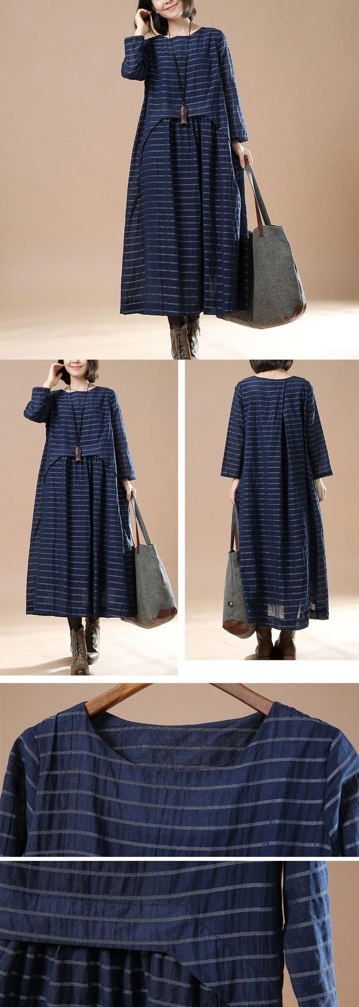 BUYKUD-Blue Women 100% cotton loose long sleeve dress. buykud dresses