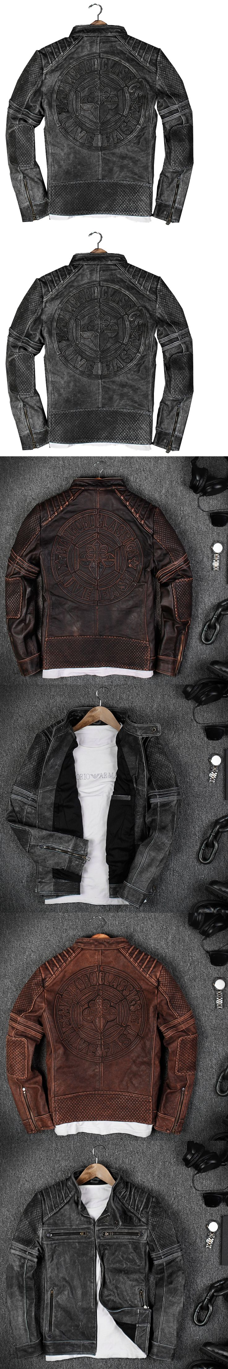 2018 Vintage Black Genuine Leather Mens Motorcycle Jacket Plus Size 3XL Slim Fit Thick Cowhide Winter Leather Coat FREE SHIPPING