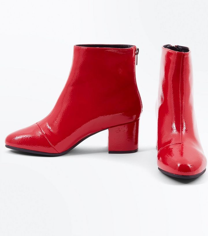 83560f7f7eb Wide Fit Red Patent Block Heel Ankle Boots | Cinderella | Block heel ...