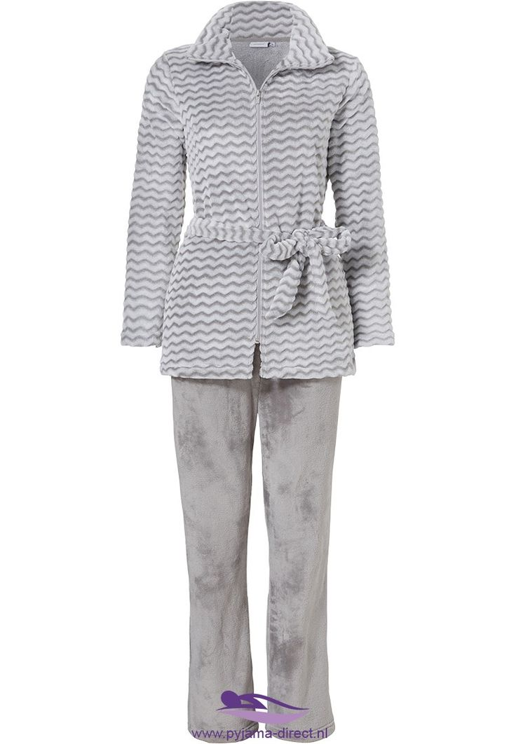 Keep warm & look good in this silver grey 'zig zags stripes' fleece homesuit from Pastunette