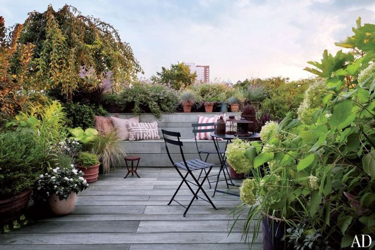 Guido palau roof garden with wooden deck and seating area.