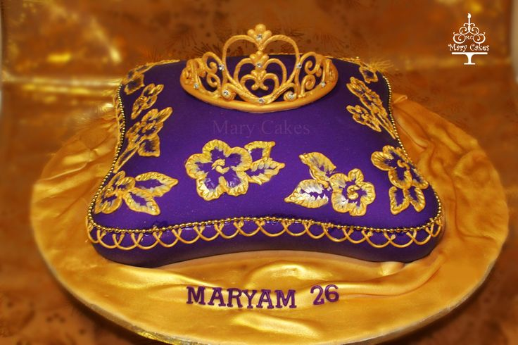 pillow shaped cake, purple and gold , royal icing tiara By ...