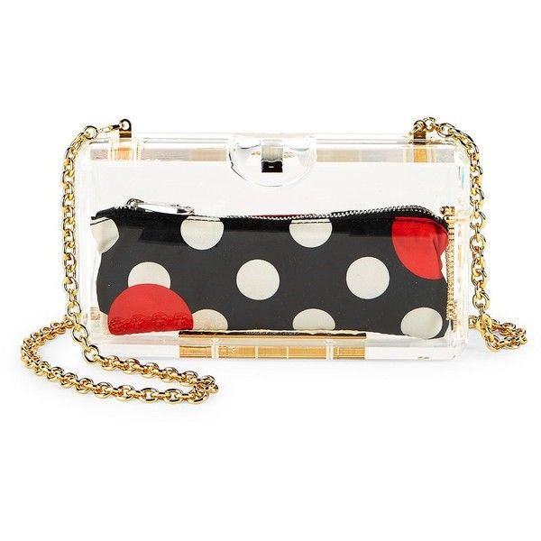 RED Valentino Chain Shoulder Bag with Polka-Dot Pouch (£385) ❤ liked on Polyvore featuring bags, handbags, shoulder bags, zip pouch, purse pouch, white shoulder handbags, polka dot handbags and shoulder handbags