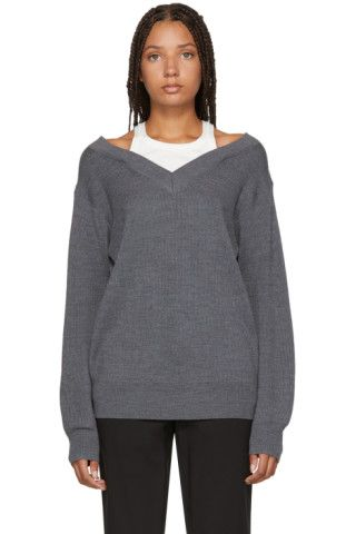 208f08a5a1ca Buy T by Alexander Wang Grey Inner Tank Off-the-Shoulder Sweater on ...