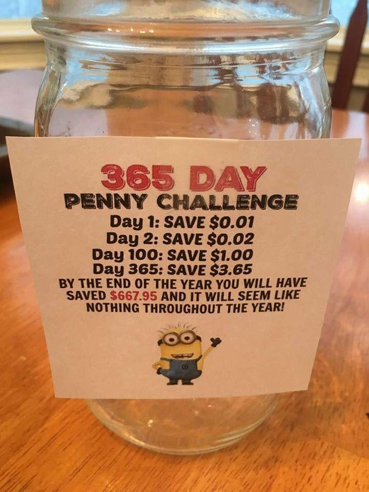 Penny jar savings challenge.