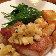 The Pork Sirloin Chops with Apples and Roasted Russet Potatoes is a fantastic well-balanced meal that will keep you full.