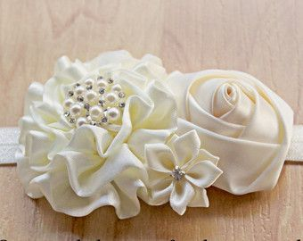 White Chiffon & Lace Flower Headband for Baby by MLSPhotoWorksShop