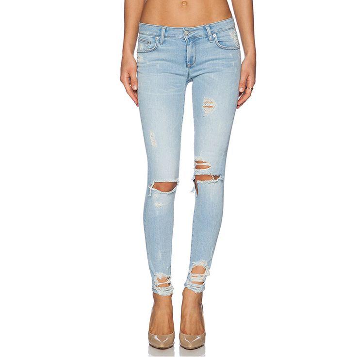 Летний стиль рваные джинсы узкие джинсы женщин тонкий мода длинные карандаш брюки цвета синие джинсы женщин