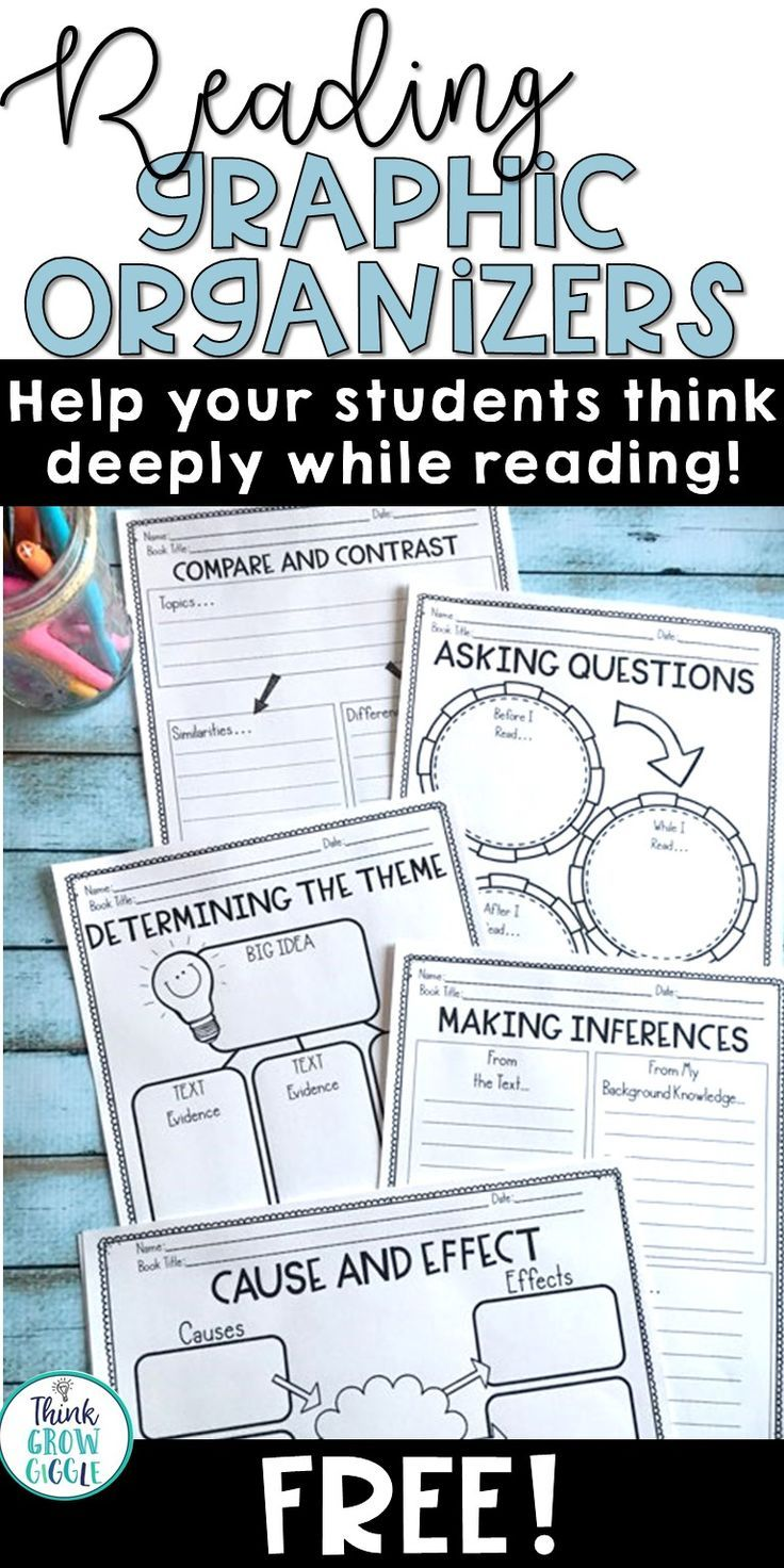 Looking for free reading graphic organizers that will help your students think critically and deeply as they read, while meeting the common core reading standards? Grab this free set of reading graphic organizers that include organizers to address: comparing and contrasting, determining the theme, asking questions, summarizing fiction, finding the main idea, and understanding cause and effect. Click to grab this set for free.