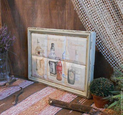 Интерьерное панно для кухни. Панно для кухни в стиле кантри. Дерево,керамические плитки. `LedaksDecor` -для уютного дома!