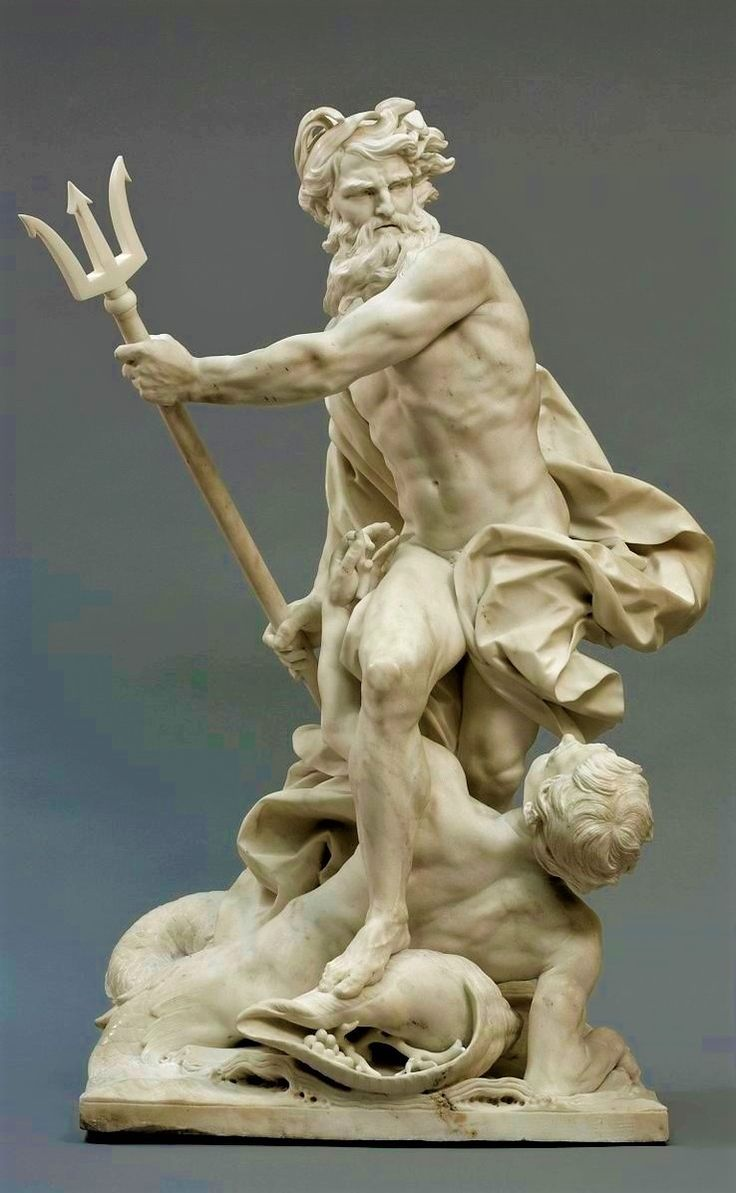 Neptune Calming The Waves With A Triton At His Feet 1737 Marble Sculpture By F Calmin Marble Sculpture Baroque Sculpture Roman Sculpture