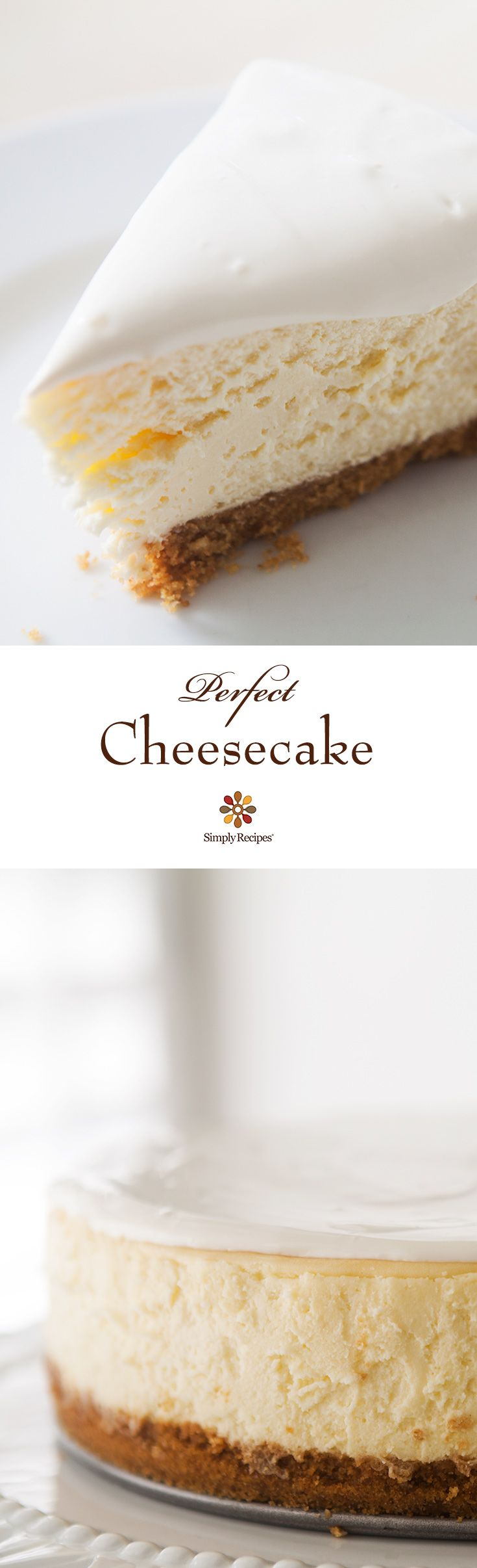 Perfect Cheesecake ~ Beautiful, classic cheesecake, tangy and sweet, with a velvety smooth and rich texture. A special treat ~ SimplyRecipes.com