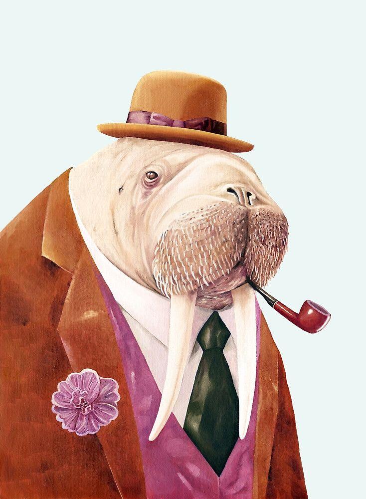 Das Walross hat sich schick gemacht, nur für euch. Entdecke diese und viele weitere Illustrationen mit Tieren bei Redbubble im Shop! Design   Kunst   Illustration   Poster   Kunstdruck
