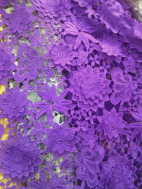 Lace Fabric Graceful Purple Venice Lace Fabric by Lacebeauty, $34.99