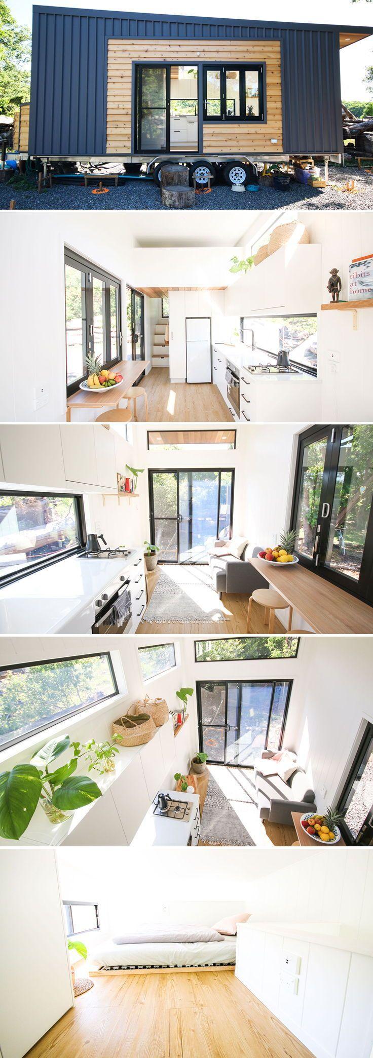 Dieses kleine Haus im modernen Stil ist das Mooloolaba 7.2 von Aussie Tiny Houses. Mit i
