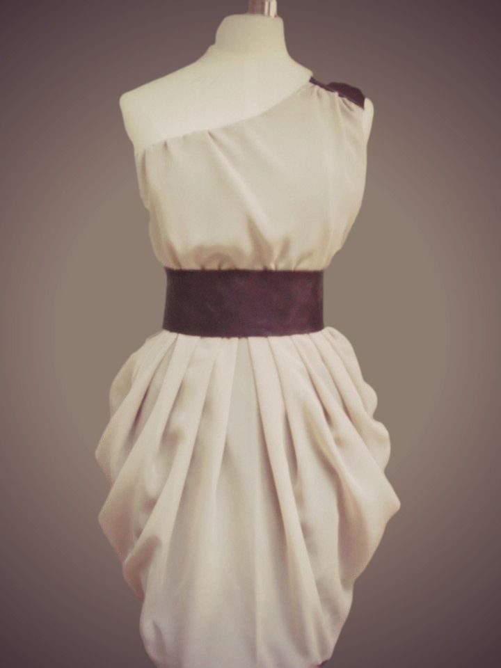 one-shoulder dress with leather
