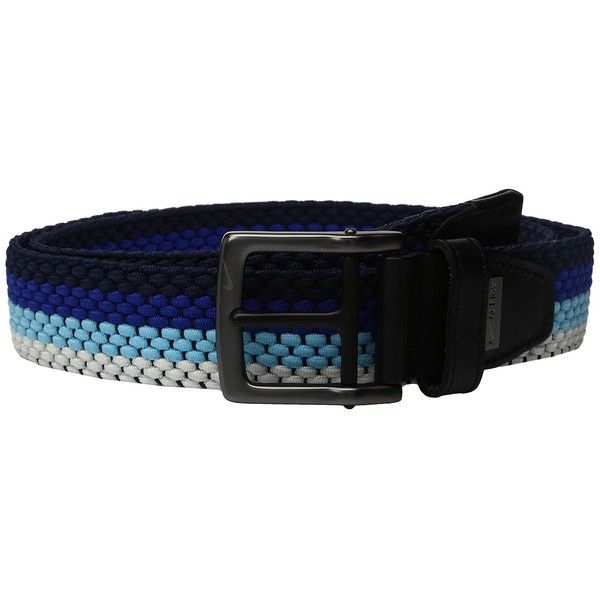 Nike Stretch Woven (Midnight Navy/Paramount Blue) Men's Belts ($38) ❤ liked on Polyvore featuring men's fashion, men's accessories, men's belts, mens braided stretch belts, men's woven stretch belts, mens braided belts and mens blue belt