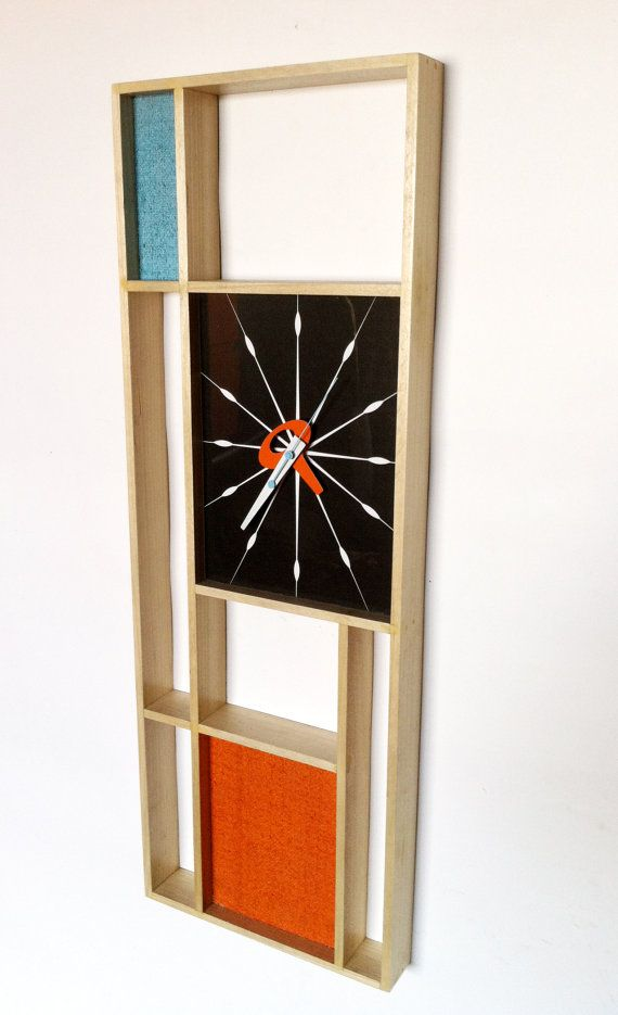 mid century modern mondrian clock retro by Jetsetretrodesign, $150.00