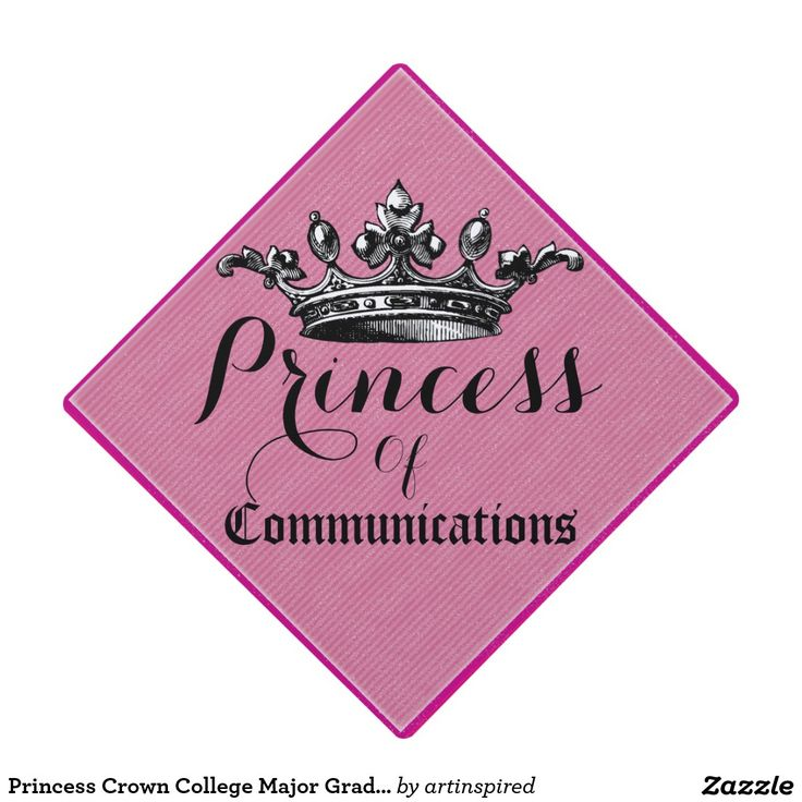 Princess Crown College Major Graduation Cap. Change text to read Queen or other text. The Communications major text can also be changed to your own collage or university major.