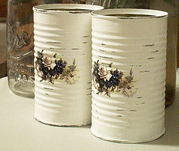 salvaged upcycled shabby chic tin cans white roses by sparkklejar, $12.00