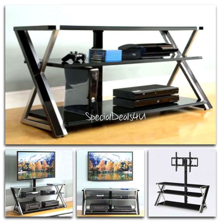 TV Holder With Mount Entertainment Center Stand Media Storage Black Modern 70'' #Whalenn #ModernContemporary