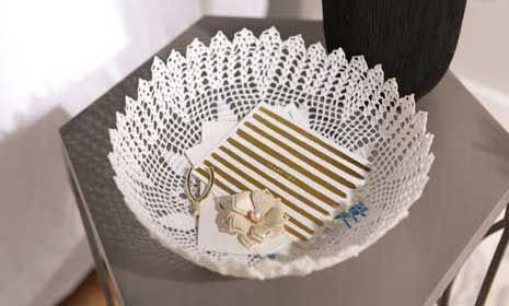 DIY Doily Bowl Make a pretty decorative bowl from a doily and a secret ingredient. Watch and learn how!
