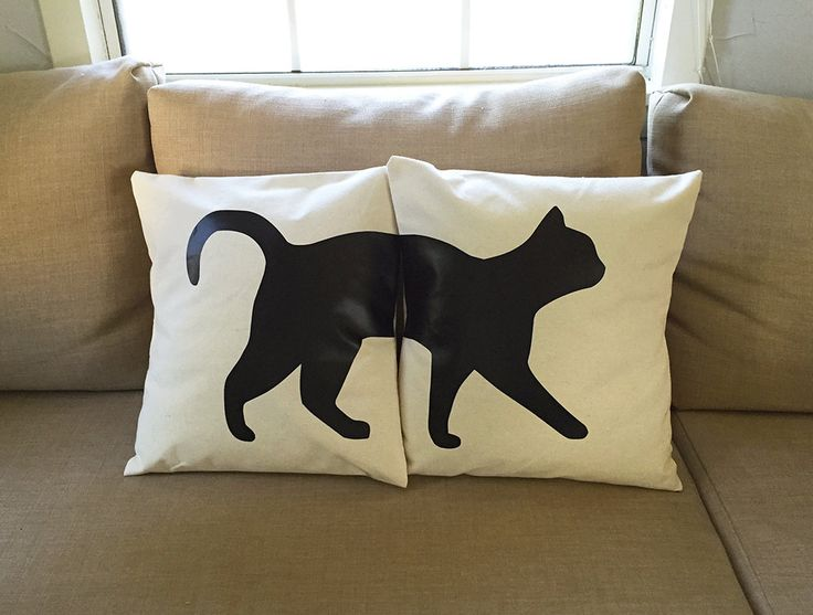 Cat Throw Pillow Cover (Set of 2) by JaycatDesigns on Etsy