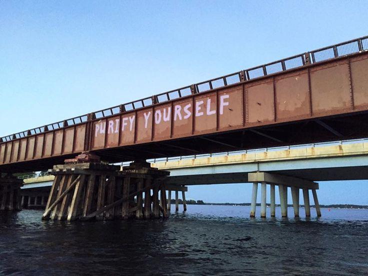 This Prince tribute graffiti on a Lake Minnetonka bridge is perfect
