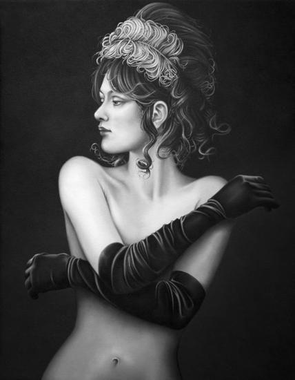 Evita Medina-Emily (Burlesque 1) Versión monocromo-Óleo