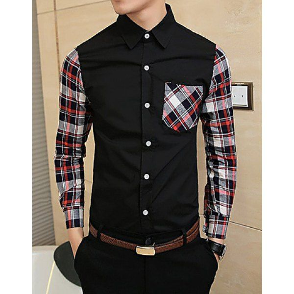 Fashionable Shirt Collar Unique Pocket Plaid Splicing Long Sleeves Polyester Shirt For Men
