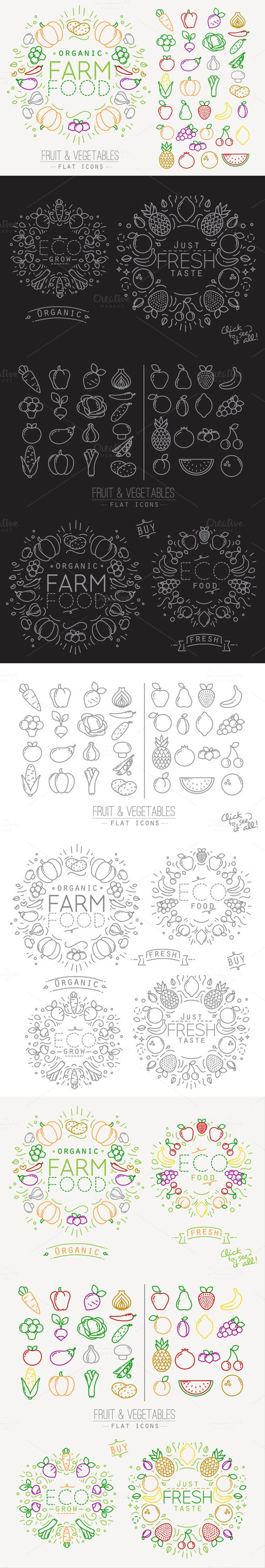 Flat Fruits & Vegetables Icons by Anna on Creative Market