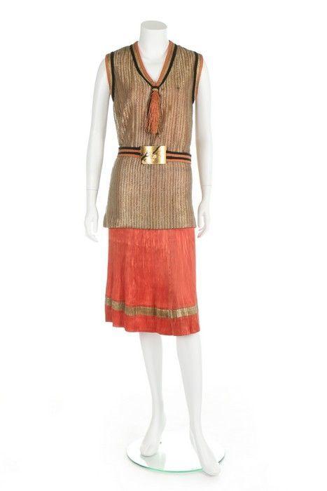 Коктейльный ансамбль в стиле шинуазри, около 1927 г. Ламе, шёлк, атлас. J. Suzanne Talbot Kerry Taylor Auctions