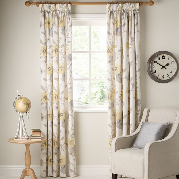 Buy John Lewis Posy Pencil Pleat Lined Curtains Yellow Online At JohnLewis