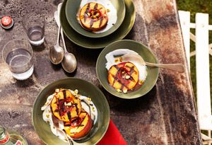Grilled Peaches with Yogurt and Pistachios