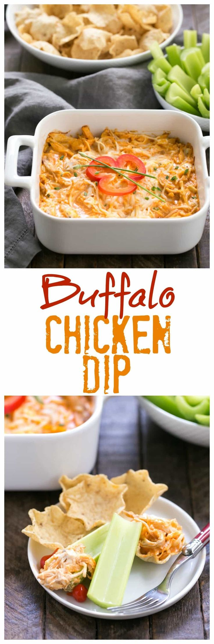 Buffalo Chicken Dip Recipe | A cheesy, spicy chicken dip with the flavors of buffalo chicken wings! @lizzydo