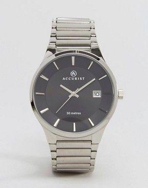 Accurist - Montre-bracelet argentée avec cadran noir
