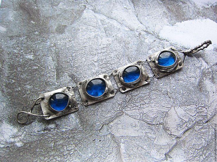 Купить Браслет из синего стекла, олова и стали. - тиффани, оловянная свадьба, для жены, стекло
